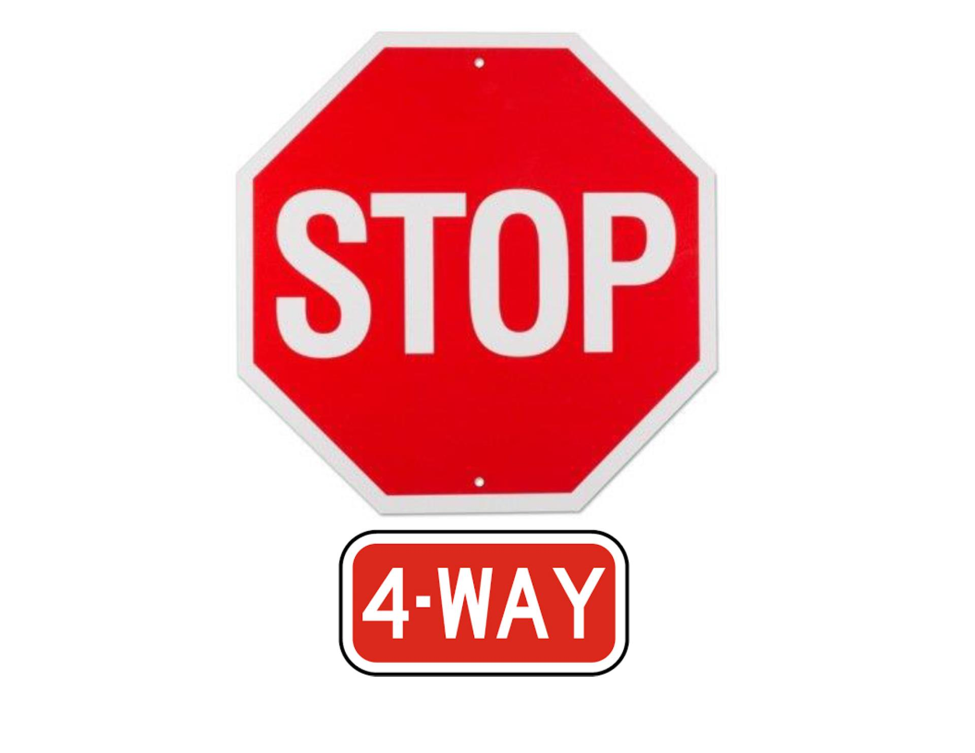Pine Division 4-way stop sign